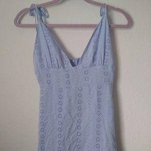 Forever 21 Dresses - Forever 21 Blue Floral Eyelet Maxi / Midi Dress